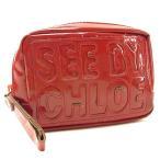 ショッピングクロエ ストラップ クロエ Chloe ポーチ ロゴ ストラップ付き レッド シルバー レディース 中古 Pouch