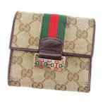 グッチ Gucci 財布 三つ折り財布 GGキャンバス ブラウン ベージュ レディース メンズ 中古