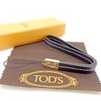 ショッピング携帯ストラップ トッズ Tod's 携帯ストラップ ブラック シルバー レディース メンズ 中古