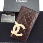 シャネル Chanel 財布 長財布 カンボンライン ブラウン ベージュ オレンジ レディース メンズ 中古