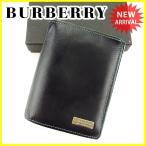 ショッピングブラックレーベル バーバリー ブラックレーベル BURBERRY BLACK LABEL 二つ折り 財布 メンズ ロゴプレート 中古 T3966
