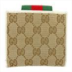 グッチ Gucci 財布 二つ折り財布 GGキャンバス ウェビングライン ベージュ ブラウン グリーン レッド系 レディース メンズ 中古