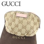 グッチ Gucci ポーチ 化粧ポーチ レディース GGキャンバス 中古 人気 セール T6692