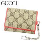 グッチ Gucci 財布 三つ折り財布 GGプラス チェーン付き ベージュ ブラウン レッド系 レディース 中古