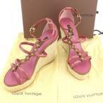ルイ ヴィトン Louis Vuitton サンダル シューズ 靴 レディース ♯36ハーフ ウェッジソール モノグラムフラワー [中古] 美品 セール T888
