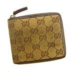 グッチ Gucci 財布 二つ折り財布 GGキャンバス ブラウン ベージュ レディース メンズ 中古