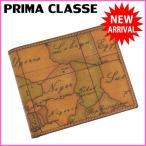 (良品・即納) プリマクラッセ/PRIMA CLASSE/二つ折り財布/レディースメンズ可/地図柄/ライトブラウン系/PVC×レザー  中古  F407