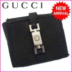 グッチ Gucci 財布 二つ折り財布 GG柄 ブラック メンズ 中古