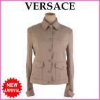 ヴェルサーチ Versace ジャケット シングル 40 ライトブラウン レディース 中古