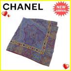 シャネル CHANEL スカーフ 大判サイズ レディース ペイズリー 中古 人気 セール J12525