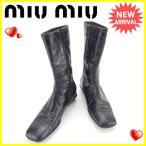 ミュウミュウ miumiu ブーツ シューズ 靴 レディース ♯37ハーフ スクエアトゥ ミドル 中古 人気 セール J12629