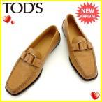 トッズ TOD'S ローファー シューズ 靴 レディース ♯38 スクエアトゥ 中古 人気 セール J15490