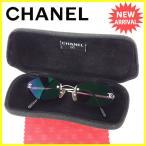 シャネル CHANEL サングラス メガネ メンズ可 ツーポイント 縁なし 4003 c.10371 ココマーク 度入り 中古 美品 セール L1298