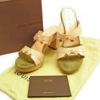 ルイヴィトン Louis Vuitton サンダル ダブルバンド シューズ 靴 レディース ♯37ハーフ リボンモチーフ 限定品