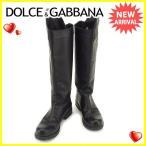 ドルチェ&ガッバーナ DOLCE&GABBANA ブーツ シューズ 靴 レディース ♯38 ドルガバ ロング ロゴプレート [中古] 人気 セール T1717