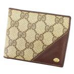 グッチ Gucci 財布 二つ折り財布 GG柄 オールドグッチ ブラウン ベージュ レディース メンズ 中古