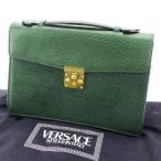 ヴェルサーチ Versace バッグ ハンドバッグ サンバースト ダークグリーン ゴールド レディース メンズ 中古 Bag