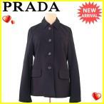プラダ PRADA コート ジャケット レディース ♯Mサイズ シングルボタン ステンカラー [中古] 美品 セール T3783