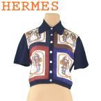エルメス HERMES シャツ ニット切替え トップス レディース ♯38サイズ 馬具プリント 中古 人気 セール T5473