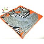 エルメス スカーフ 美品 ナノカレ オレンジ×黒×マルチ ZEBRA PEGASUS(ゼブラペガサス)/カレ20  値下げ 20200717
