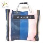 マルニ MARNI ハンドバッグ ネイビー×ピンク×マルチ ストライプ 化学繊維  値下げ 20211019