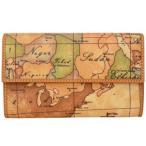プリマクラッセ 財布 三つ折り財布 小銭入れ付き W024 9000 Geo Classic ジオクラシック 世界地図柄 マップ柄 ベージュ系 人気 SALE セール