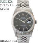 オーバーホール&新品仕上げ済 ROLEX ロレックスデイトジャスト ref.16234 ブラック文字盤 ステンレススチールK18ホワイトゴールド中古 腕時計
