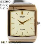 セイコーDOLCE クォーツ 腕時計 メンズ シャンパンゴールド文字盤 レザーベルト ドルチェ SS×GP 中古