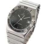 オメガ コンステレーション 旧型 メンズ 腕時計 クォーツ デイト ステンレス シルバー ブラック文字盤 1448/431.6 電池式 中古