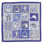 超美品 エルメス HERMES カレ70 シルク100% Le Boubou H ブーブーH 馬具 セリエ スカーフ 白 青