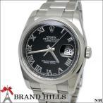 ロレックス デイトジャスト メンズ 自動巻き 腕時計 SS ブラック文字盤 ローマンインデックス ルーレット ランダム番 116200 ROLEX 美品