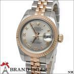 ロレックス 179171 デイトジャスト レディース 自動巻き 腕時計 SS K18PG グレー ローマン文字盤 M番 2007年頃 ルーレット刻印 ROLEX 極美品