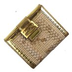 FENDI フェンディ 二つ折り 財布 8M0188 PVCレザー  ホワイト ゴールド 中古Bランク コンパクト