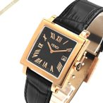 フェンディ FENDI メンズ腕時計 クワドロ スクエア ブラック×ローズゴールド F604511011