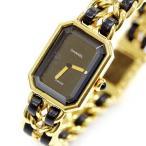 ショッピングused 【USED】シャネル プルミエールL レディース腕時計 ブラック×ゴールド 電池式/2針 腕回り/約15.5cm 編み込みチェーン