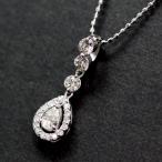 ショッピングused 【USED】K18WG ダイヤモンド/0.08/0.16ct 涙型のデザインネックレス ボールチェーン/40cm スイングダイヤ