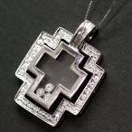 ショッピングused 【USED】K18WG ダイヤモンド/0.25ct 可動式ダブルクロスデザインネックレス ダイヤがガラスの中を踊るトップ ベネチェーン/45cm