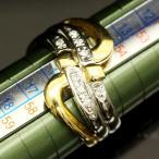 ショッピングused 【USED】K18/Pt900 ダイヤ/0.09ct ツーカラーデザインリング