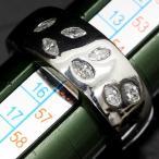 ショッピングused 【USED】Pt900 ダイヤモンド 個性的なリーフ風幅広デザインリング 15号 マーキスダイヤ