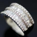 ショッピングused 【USED】K18WG ダイヤ/1.55ct テーパー デザインリング 12.5号