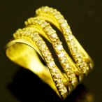 ショッピングused 【USED】K18 ブラウンダイヤモンド/0.71ct 流線デザインリング 幅広/約12mm 指輪