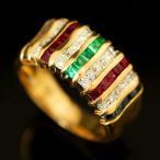 ショッピングused 【USED】K18/Pt900 ダイヤ/0.15ct マルチストーン ストライプデザインリング 15.5号/#15.5 9.0g 縞々 ゼブラ サファイア ルビー 指輪