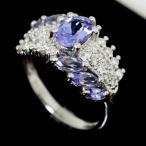 ショッピングused 【USED】Pt900 タンザナイト ダイヤモンド/0.38ct デザインリング 11.5号/#11.5 7.4g 指輪