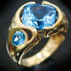 ショッピングused 【USED】K18 ブルートパーズ/3.99ct ダイヤモンド 爽やかなクリアブルーが魅力のデザイン幅広レディースジュエリーリング #11.5 11.5号