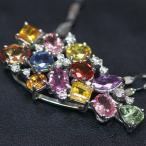 ショッピングused 【USED】Pt1000/K18WG カラーサファイア/4.26ct ダイヤモンド/0.22ct 40.8cm 6.6g カラフル 9月誕生石