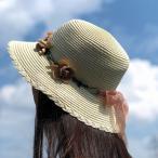 麦わら帽子 ストローハット ペーパーハット UV対策 フラワー リボン メール便送料無料