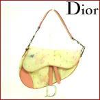 クリスチャン・ディオール バッグ レディース Christian Dior ショルダーバッグ サドル型 花 中古 X10872