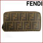フェンディ 財布 レディース (メンズ可) FENDI 長財布 ラウンドファスナー財布 ズッカ 中古 X13120