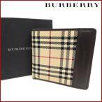 バーバリー 財布 レディース (メンズ可) BURBERRY 二つ折り財布 ノバチェック 中古 X14291