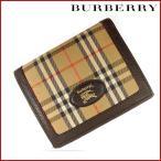 バーバリー 財布 レディース (メンズ可) BURBERRY 二つ折り財布 ノバチェック 中古 X16176